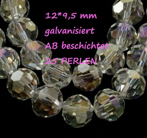 1 Strang galvanisierte geschliffene Glasperlen Schmuckperlen Beads Bastelperlen