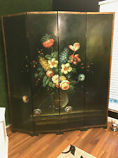 2 Antique Style French Four Panel Hand Painted roses Screen Divider