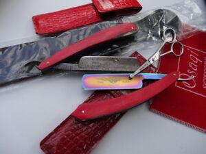2-x-Barber-Cut-Throat-Razor-DAMASCUS-amp-Titanium-STEEL-BLADE-Leather-Strop