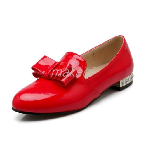 New Sweet Womens Bowknot Slip On Pumps Shoes Loafers Korean Faux Patent Leather