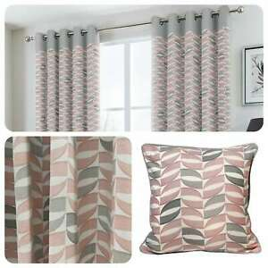 Fusion-COPELAND-Pink-Grey-Geometric-Eyelet-Ring-Top-Ready-Made-Curtains-Cushions