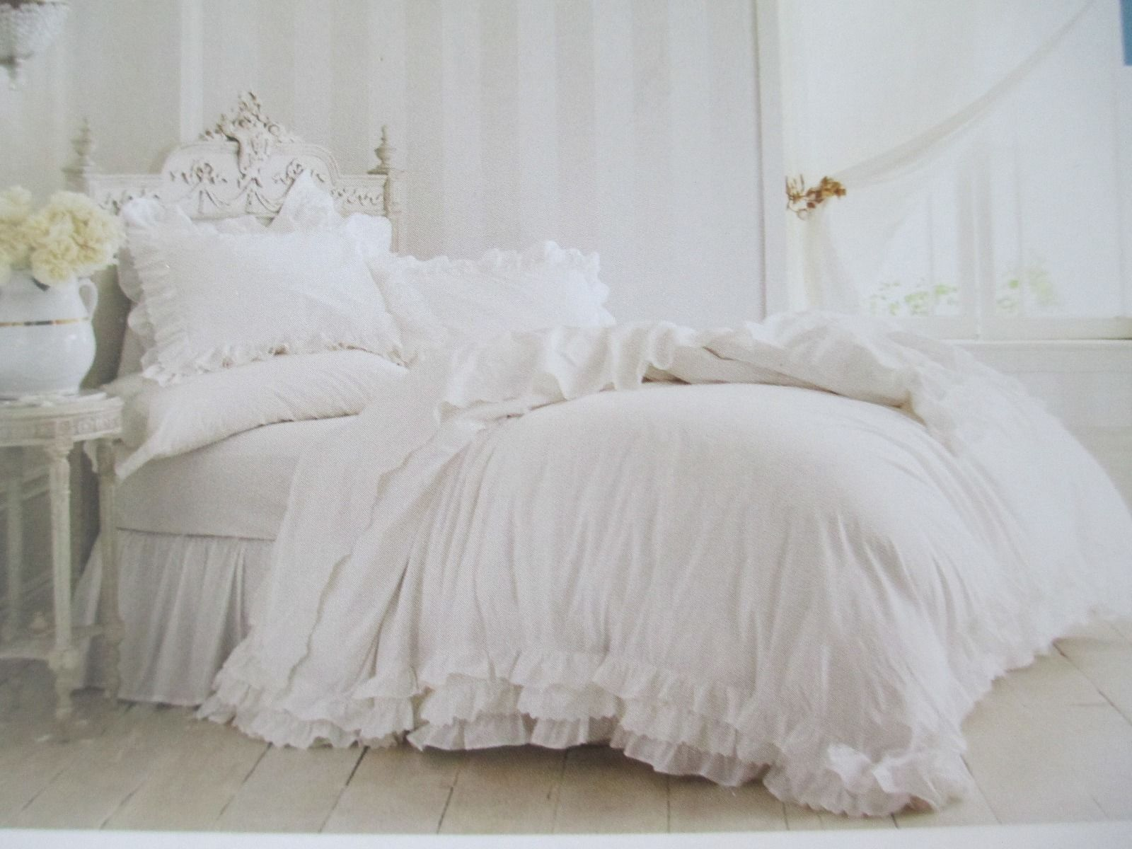 Picture of: New Rachel Ashwell Simply Shabby Chic 3pc White Ruffle Lace Duvet Set King For Sale