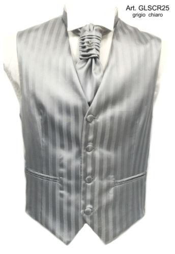 Gilet uomo sartoriale su misura  pura seta elegante cerimonia grigio fantasia