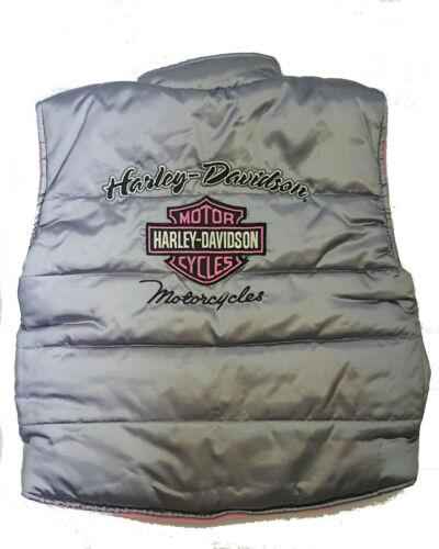 Harley-Davidson Toddler Girl Fleece Lined Puffer Vest Silver Pink Outerwear
