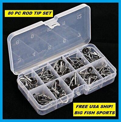 80PCS Fishing Rod Guide Tips  Eye Ceramic 10 Sizes Set Repair Kit Rings
