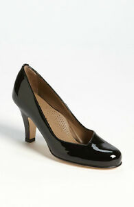 Scarpe-donna-Decolte-Tacco-Woman-Shoes-Pumps-Heel-Vernice-Nero-MADE-ITALY-Schuhe