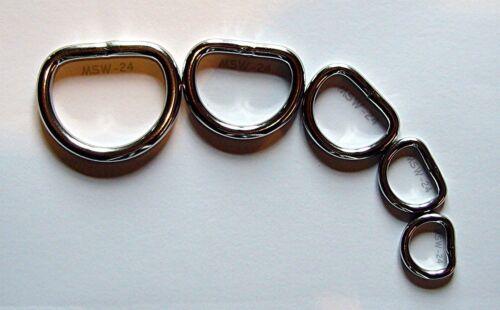 "2 x acier inoxydable D-ring environ 38x35x6,4mm 1 1//2/"""