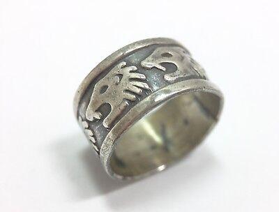 Silver Tone Lion Head Unisex Finger Ring Size 9.5