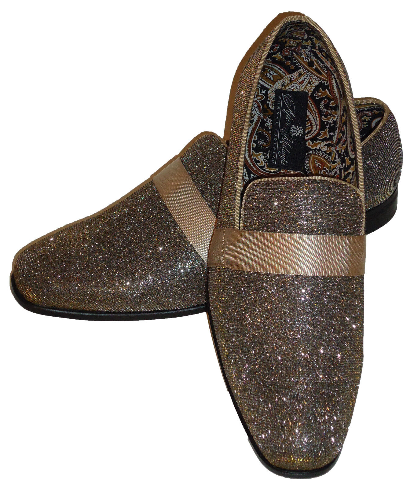 AM 6660 Uomo Formal Occasion Dress Loafers Shoes Superb Gold Glitter Mesh