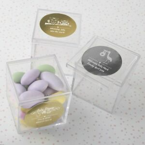 Details about 50 Personalized Candy Box Birthday Baby Christening Baptism  Shower Party Favors