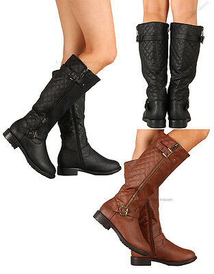 New Womens Riding Knee High Boots Flat Heel Hot Fashion Faux Leather Shoes Size