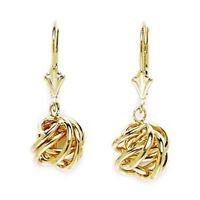 14k Solid 14 k Yellow Gold Dangle Love Knot Leverback Earrings 25x8mm #L66
