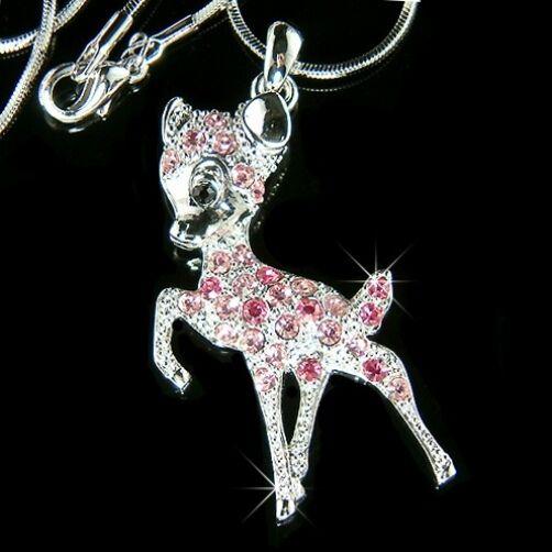 w Swarovski Crystal PINK BAMBI DEER fawn Charm Pendant Chain Girls Necklace Xmas