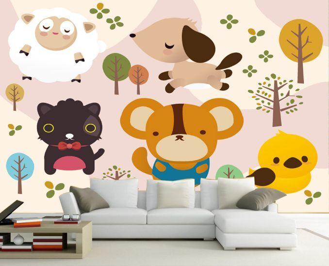 3D Cute Animal Lush Tree Paper Wall Print Decal Wall Wall Murals AJ WALLPAPER GB