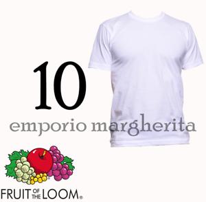 FRUIT OF THE LOOM  OFFERTA 10  T SHIRT  UOMO  BIANCO MANICA CORTA
