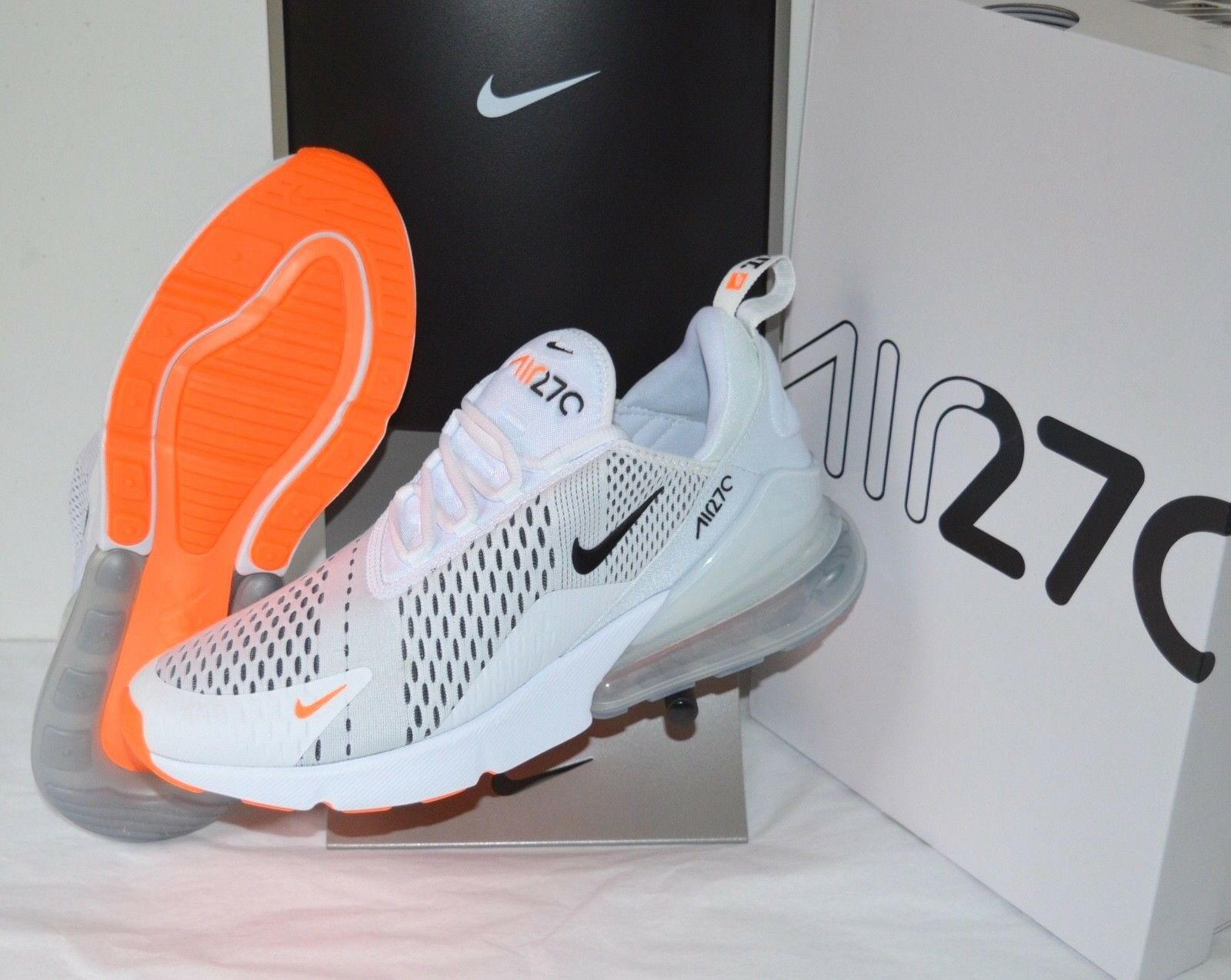 New New New Nike Air Max 270 Just Do It White Black Total orange sz 11 JDI Running shoes c63d57