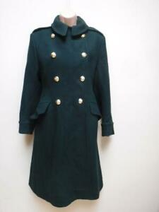 LADIES-VINTAGE-WOOL-ARMY-LOVET-GREEN-WRAC-great-Coat-double-breasted-size-6-8