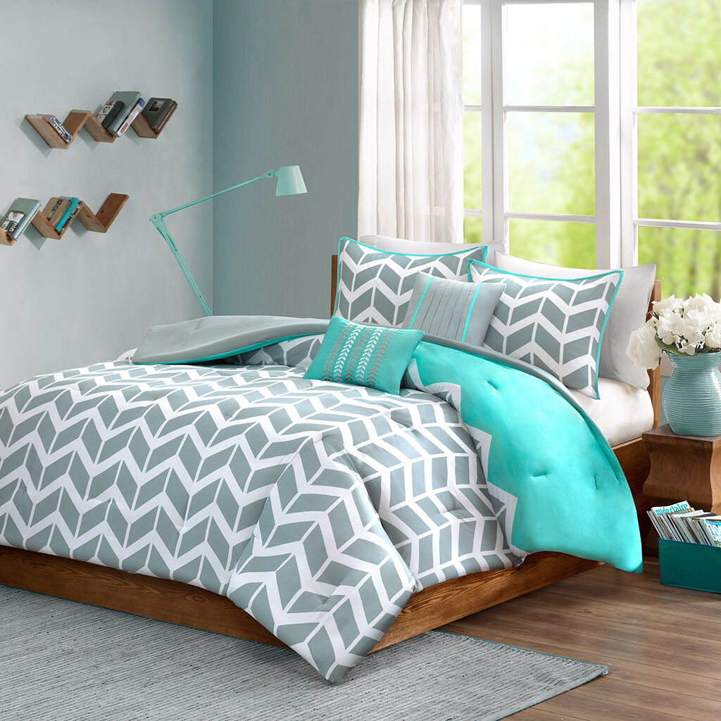 blueE GREY AQUA TEAL CHEVRON STRIPE ZIG ZAG GEOMETRIC COMFORTER SET FULL QUEEN SZ