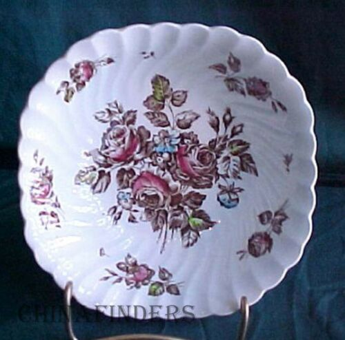 """JOHNSON BROTHERS china DEVON SPRAYS brown multicolor SQUARE Coupe CEREAL BOWL 6/"""""""