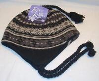 Grand Sierra Fleece Lined Womens Ladies Gray & Black Chullo Beanie Hat Cap