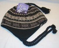 Grand Sierra Fleece Lined Womens Ladies Gray & Black Chullo Beanie Hat Cap