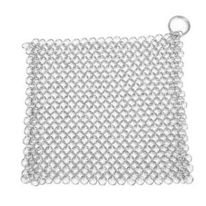 Stainless-Steel-Brush-Pot-Net-Cast-Iron-Square-Chainmail-Home-Kitchen-Clean-3YE