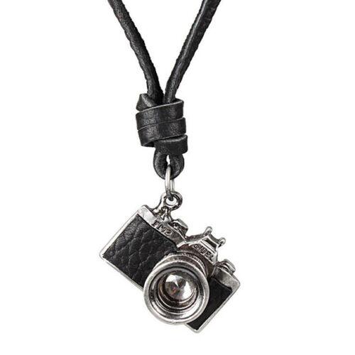 2015 Nueva cámara de Metal Retro Vintage Punk colgante cuero cordón collar Mens