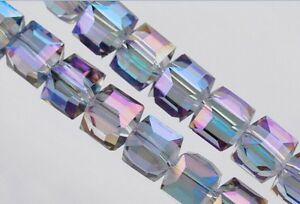 50pcs Purple Colorized Glass Crystal Faceted Cube Beads 6mm Spacer Findings