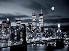 Brooklyn Bridge Twin Towers New York United States Travel Advertisement Poster