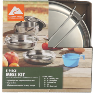 Ozark Trail 5-PC Mess Kit Stainless Steel Camping Cookware Fry Pan Cup Plate Pot