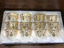 Arabic Turkish Coffee Cups, white with Gold Set of 12