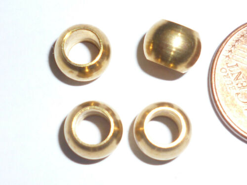 4 Stück Metallperlen Goldfarben 5x7 mm massiv Loch 4 mm