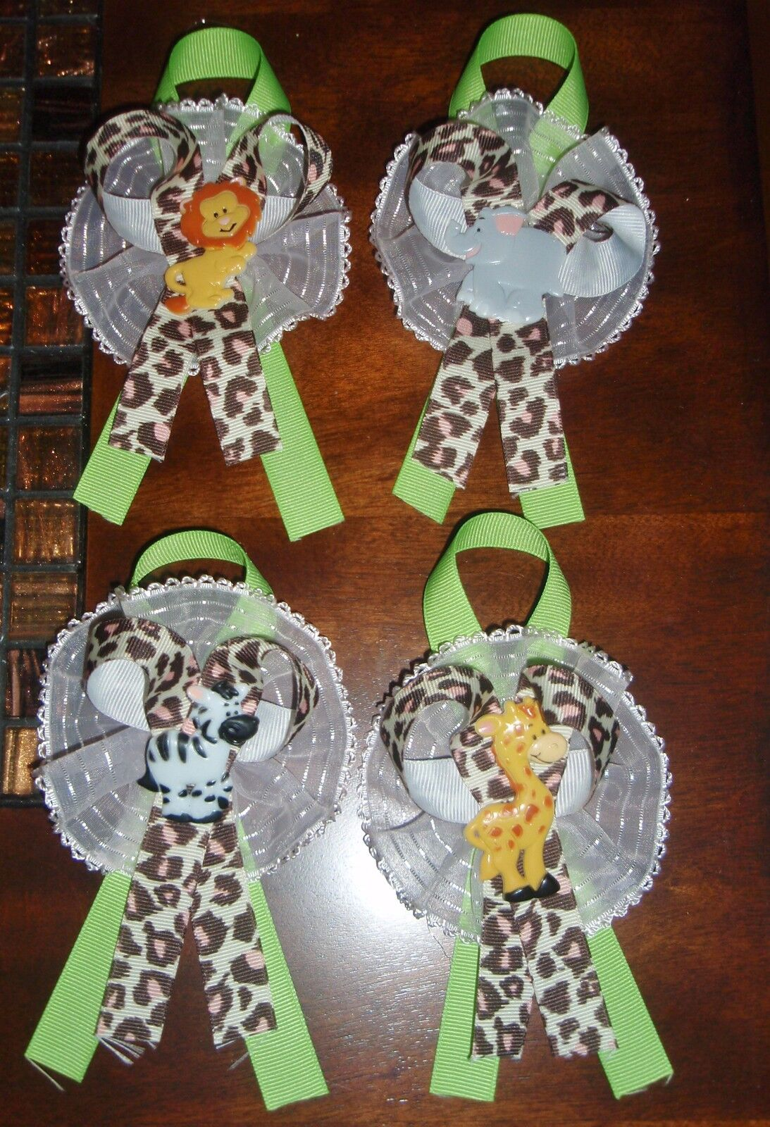 12 JUNGLE SAFARI ZOO 12 CORSAGES BABY SHOWER PARTY GIRL BOY MOTHER TO BE GIFT