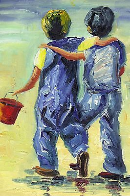 """BROTHERS CHILDREN BEACH SEA SAND 8x12"""" Stretched Canvas Art Print"""