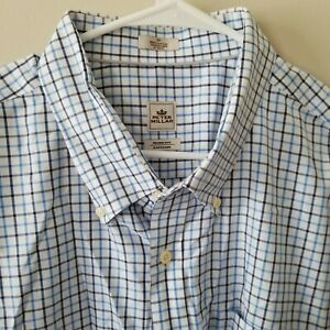 Peter-Millar-Mens-Button-Down-Long-Sleeve-Shirt-Blue-Plaid-Size-3XL-EUC