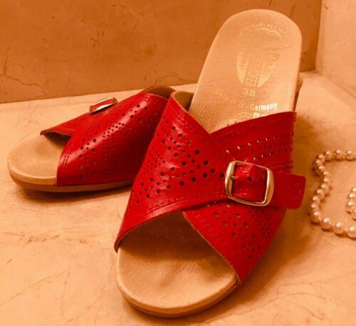 Worishofer Slides 38 Red Leather Cork Wedge Heel 1