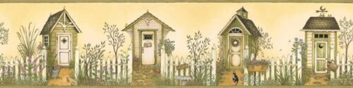 Outhouses on Golden Yellow /& Olive Green Easy Walls Wallpaper Border SM05081B