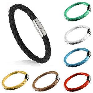Unisexe-Homme-Tresse-PU-Cuir-Acier-Magnetique-Fermoir-Manchette-Bracelet-Mode