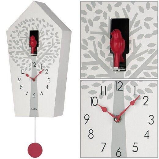 AMS 7286 Kuckucksuhr orologio da parete quarzo  pendolo rosso bianco  Baum