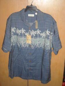 034-Caribbean-034-Men-039-s-Hawaiian-Shirt-Blue-with-Palm-Trees-Size-XL-NWT