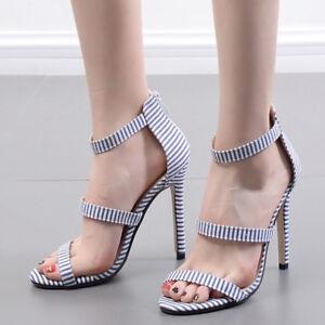 Sandals-Elegant-Heel-Stiletto-11-cm-Striped-Blue-Leather-Synthetic-Elegant-9793