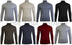 Mens-Roll-Necks-Tops-Polo-Necks-Plain-Winter-Ski-Quality-Stretch-Jersey-Cotton
