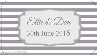 65 x Personalised Mini Stickers Wedding Frame Stripes Grey Labels