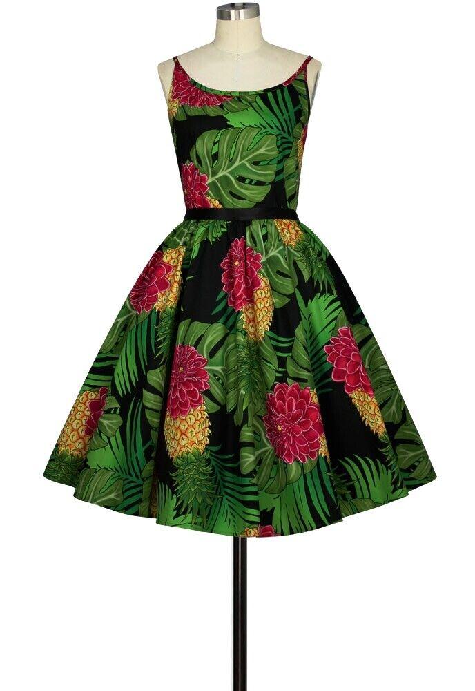 CSTD 82860 Damen Kleid Rockabilly 50er 60er Vintage Retro Grün mit Blatt Motiv