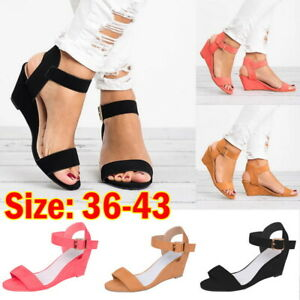 Women-Plus-Size-wedge-sandal-Casual-Solid-Color-Open-Toe-Ankle-Strap-Sandal-JR15