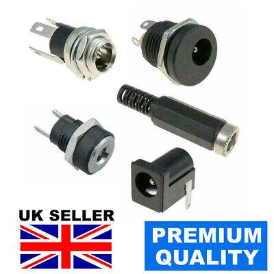 Pk of 10 Black Plastic Panel Mount DC Socket 5.5mm x 2.1mm Fast UK Supplier