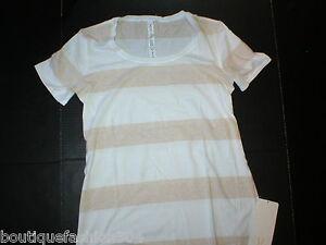 NWT-Womens-Lululemon-New-Every-Yogi-Tee-Top-Shirt-10-Stripes-Tan-White-Yoga-Soft