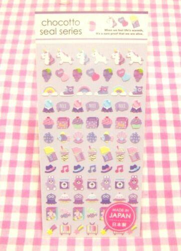 GAIA Made in Japan Purple Unicorn Grape Cupcake Rabbit Shell Sticker Sheet