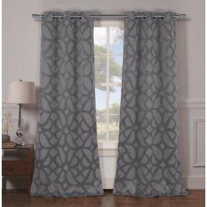 Geometric Blackout Grommet Curtain Panels Nwot Ebay
