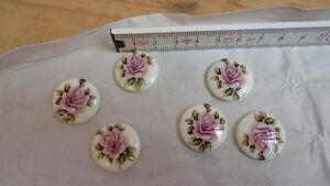6-Cabochon-Steine-Brosche-Blumen-Flowers-rosa-Rose-22mm-Retro-Vintage-Schmuck